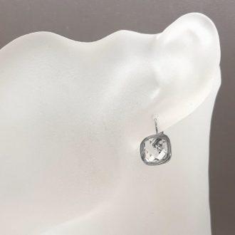 Uhani z belim cirkonom - ženski nakit - modni nakit - uhani iz jekla - nakit