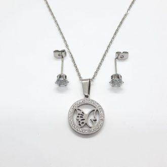 komplet jekleni - komplet z metuljem - jekleni komplet - jekleni nakit