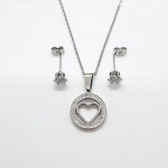 komplet s sčrkom - komplet za srečo - jekleni komplet - jekleni nakit - srce
