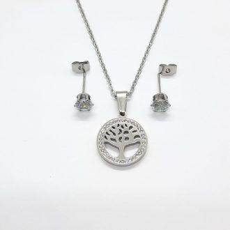 komplet jeklo - komplet drevo življenja - jekleni komplet - jekleni nakit
